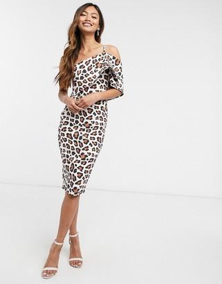 Vesper off shoulder body-conscious midi dress in animal print