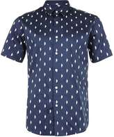 Topman Navy And White Cloud Print Satin Feel Smart Shirt