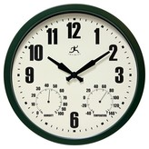 """Infinity Instruments Munich Time and Weather Outdoor Clock - 14""""D - Dark Green"""