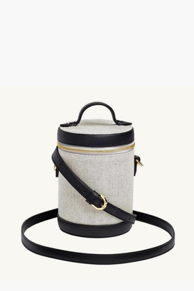 Paravel Domino Black Leather and Canvas Crossbody Capsule Bag
