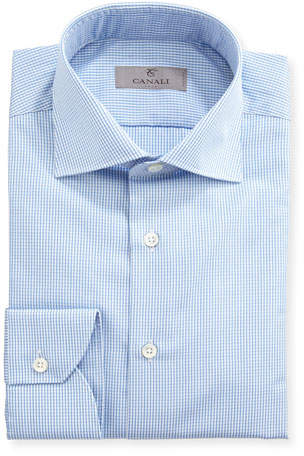 Canali Graph-Check Dress Shirt, Blue