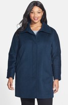 Ellen Tracy Plus Size Women's Fly Front Wool Blend Topper