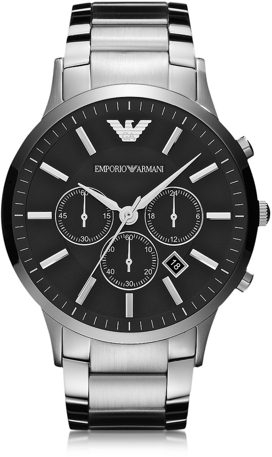 Emporio Armani Silver Tone Stainless Steel Men's Watch w/Black Dial
