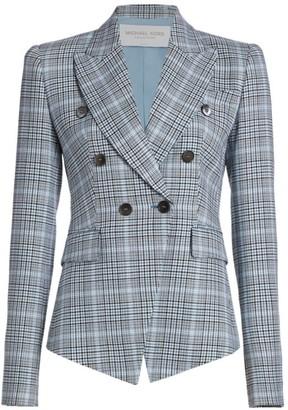 Michael Kors Laredo Glen Plaid Wool Double Breasted Blazer