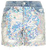 Topshop Moto sequin boyfriend shorts
