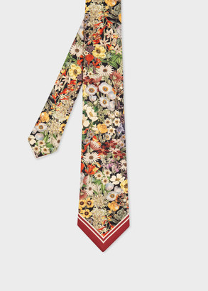 Paul Smith Men's 'Seed Packet Floral' Print Silk Tie