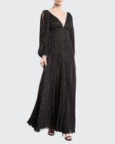 Thumbnail for your product : J. Mendel V-Neck Puff-Sleeve Fitted-Waist Metallic-Dot Evening Gown