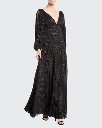 J. Mendel V-Neck Puff-Sleeve Fitted-Waist Metallic-Dot Evening Gown