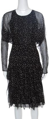 Gucci Black Snow Printed Silk Chiffon Strip Detail Long Sleeve Dress S