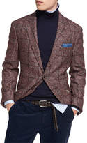 Brunello Cucinelli Plaid Alpaca-Wool Sport Jacket, Red