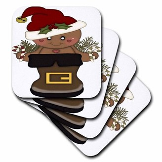 3drose 3dRose Cute Gingerbread Man With A Santa Hat In A Santa Boot Illustration - Soft Coasters, set of 8
