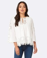 Forever New Lana Lace Floral Embroidery Blouse
