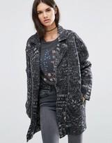 Diesel Textured Wool Long Biker Jacket