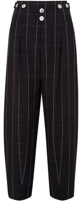 Chloé Checked Wool Wide-leg Pants