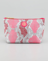 Tory Burch Snake-Printed Small Slouchy Cosmetic Bag, Carnation