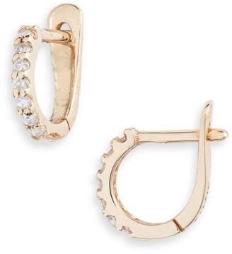 Anzie Cleo Pave Diamond Huggie Hoop Earrings