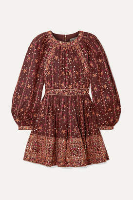 Ulla Johnson Daya Embellished Embroidered Linen And Cotton-blend Mini Dress - Burgundy