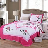 Alicemall Pink Girls Quilt Set Supper Soft Cotton Lovely Pink Flower Print Quilt Sets 2 Pieces Kids' Bedding Set Dorm Room Bedspreads Set, 1 Quilt and 1 Pillowcase, XL Twin Size (Pink&White)