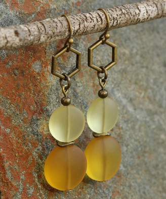 Boho Treasures By Wise Creations Boho Treasures by Wise Creations Women's Earrings Yellow, - Honey Sea Glass & Bronzetone Drop Earrings