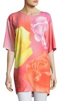 Moschino Half-Sleeve Fantasy Rose-Print Long Blouse, Pink