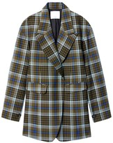 Tibi Spencer Plaid Sculpted Blazer in Army Green