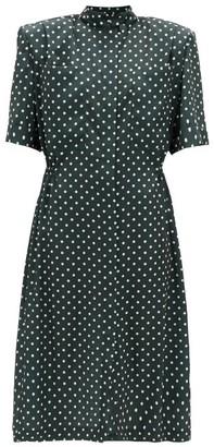 Vetements Exaggerated-shoulder Polka-dot Satin Shirt Dress - Dark Green