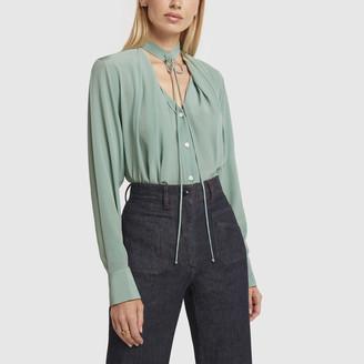 Victoria Beckham Long-Sleeve Silk Shirt