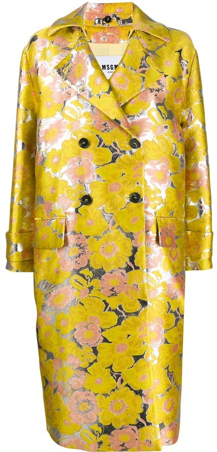 MSGM Floral Jacquard Double-Breasted Coat