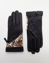 Pia Rossini Leather Gloves With Leopard Insert