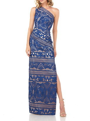 Kay Unger New York Marissa One-Shoulder Chemical Lace Column Gown