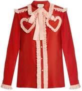 Gucci Ruffle-trimmed silk crepe de Chine blouse