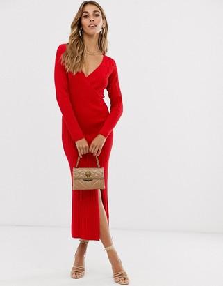 Asos Design DESIGN knit rib midi dress with wrap detail-Red