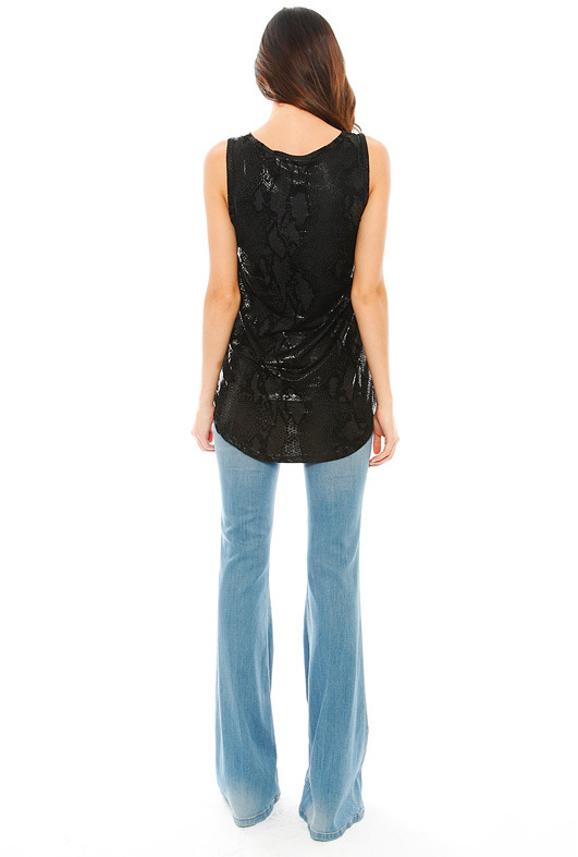 MinkPink Black Python Tank in Black