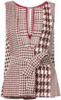 Oscar de la Renta split neck top with tie - women - Cotton/Acrylic/Polyester/other fibers - 4