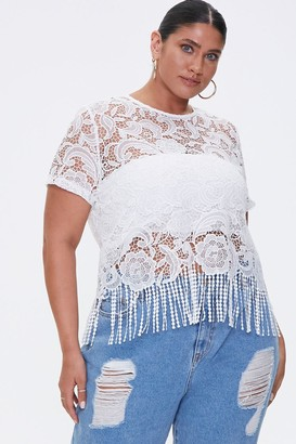 Forever 21 Plus Size Sheer Embroidered Lace Top