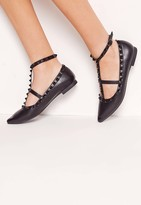 Missguided Studded Strap Flat Shoes Black