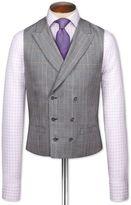 Charles Tyrwhitt Grey Check British Panama Luxury Suit Wool Waistcoat Size w36