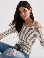 Lucky Brand Stripe Tie Front Off The Shoulder Tee