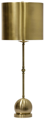 Harp and Finial Fulton Table Lamp, Matte Antique Brass Finish on Metal Body, Metal Sha