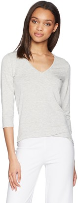 Majestic Filatures Women's Soft Touch Flat-Edge 3/4 Sleeve V-Neck