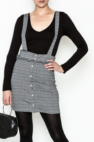 Color Thread Plaid Suspender Skirt