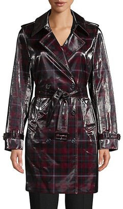 Elie Tahari Natania Laminated Plaid Trench Coat