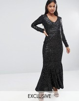 Club L V Front Velvet Sequin Maxi Dress with Fishtail