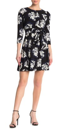 Tommy Hilfiger 3/4 Sleeve Floral Print Waist Tie Dress