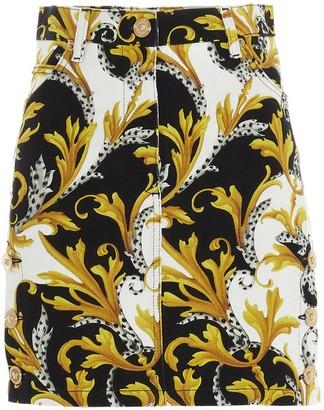 Versace Baroque Print Denim Mini Skirt