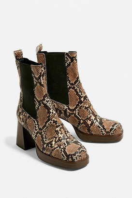 Urban Outfitters Faux Leather Snakeskin Platform Chelsea Boot