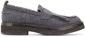 Brunello Cucinelli beaded strap textured loafers