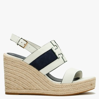 Tory Burch Ines Perfect Ivory Royal Navy Leather Wedge Espadrille Sandals