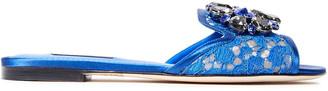 Dolce & Gabbana Crystal-embellished Corded Lace Slides