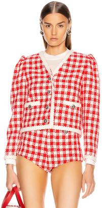 Miu Miu Tweed Jacket in Ivory & Red | FWRD